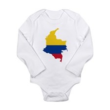 Colombia Civil Ensign Flag and Map Long Sleeve Inf