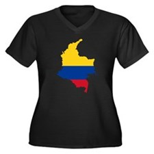 Colombia Civil Ensign Flag and Map Women's Plus Si