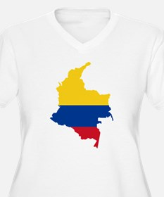 Colombia Civil Ensign Flag and Map T-Shirt