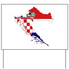 Croatia Flag and Map Yard Sign