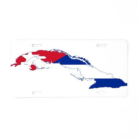 Cuba Flag and Map Aluminum License Plate