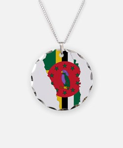 Dominica Flag and Map Necklace