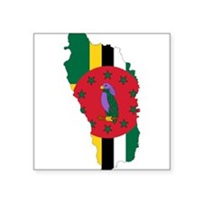 """Dominica Flag and Map Square Sticker 3"""" x 3"""""""