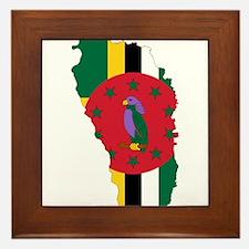 Dominica Flag and Map Framed Tile