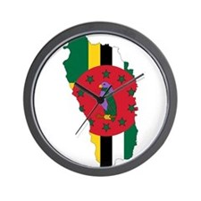 Dominica Flag and Map Wall Clock