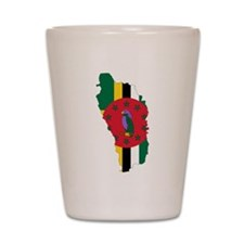 Dominica Flag and Map Shot Glass