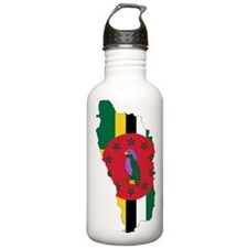 Dominica Flag and Map Water Bottle