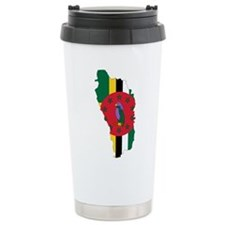 Dominica Flag and Map Travel Mug