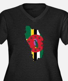 Dominica Flag and Map Women's Plus Size V-Neck Dar