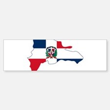 Dominican Republic Flag and Map Bumper Bumper Sticker