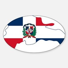 Dominican Republic Flag and Map Sticker (Oval)