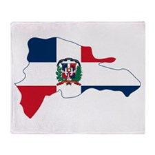 Dominican Republic Flag and Map Throw Blanket