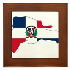 Dominican Republic Flag and Map Framed Tile