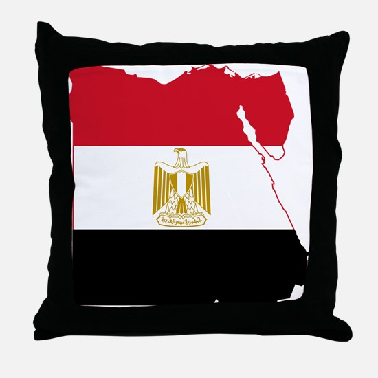 Egypt Flag and Map Throw Pillow