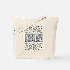 MD, initials, Tote Bag