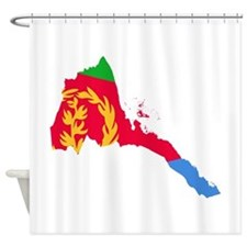 Eretria Flag and Map Shower Curtain