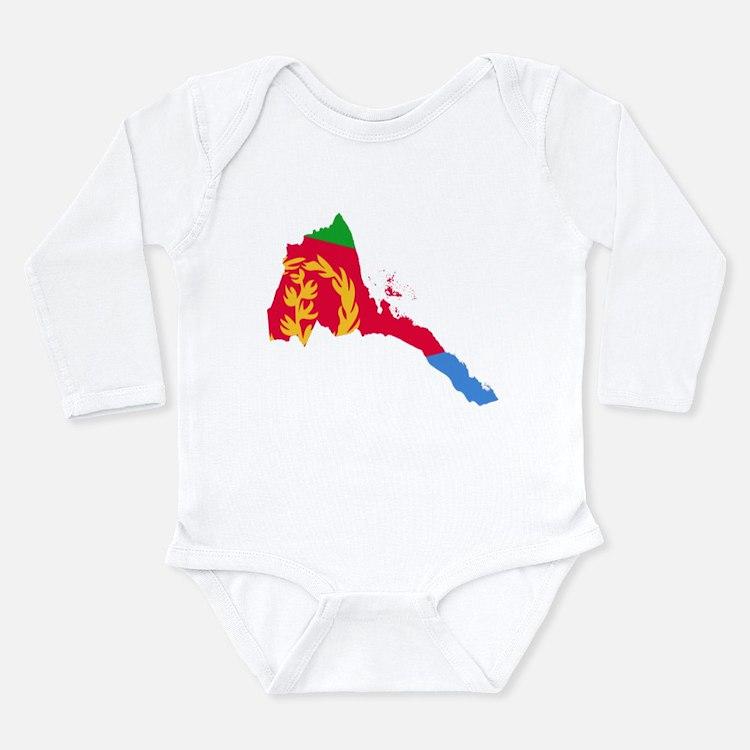 Eretria Flag and Map Long Sleeve Infant Bodysuit