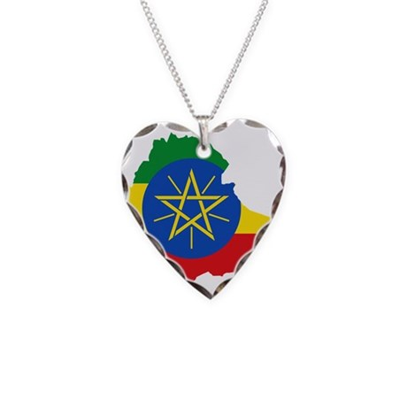 Ethiopia Flag and Map Necklace Heart Charm