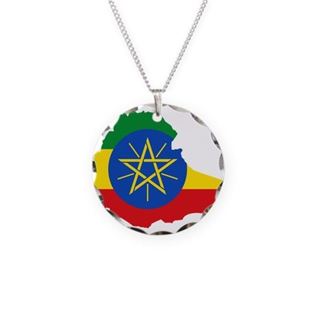 Ethiopia Flag and Map Necklace Circle Charm