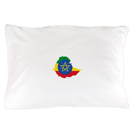 Ethiopia Flag and Map Pillow Case