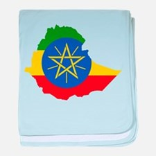 Ethiopia Flag and Map baby blanket