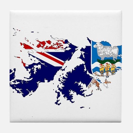 Falkland Islands Flag and Map Tile Coaster