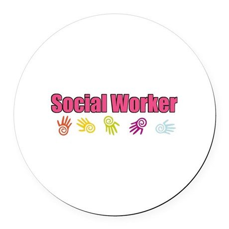 Social Worker Girl Round Car Magnet