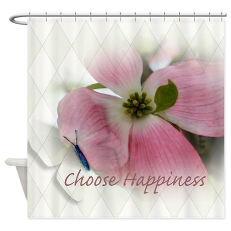 Dogwood and Butterfly Happiness Shower Curtain