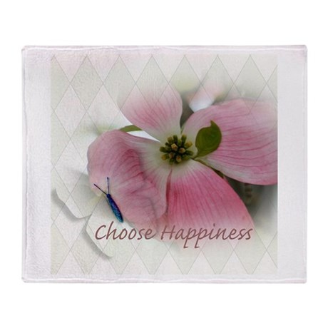 Dogwood and Butterfly Happiness Throw Blanket
