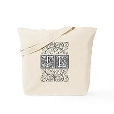 TE, initials, Tote Bag