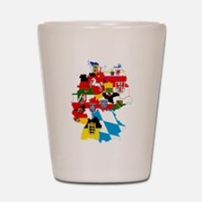 Germany Subdivisions Flag and Map Shot Glass