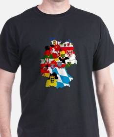 Germany Subdivisions Flag and Map T-Shirt