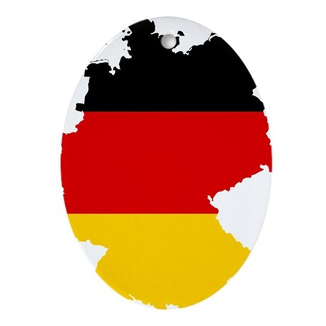 Germany Subdivisions Flag and Map Ornament (Oval)