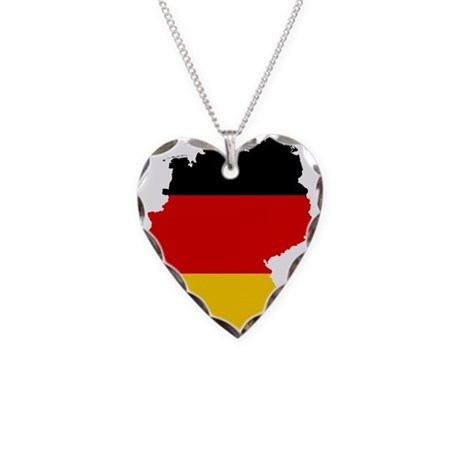 Germany Subdivisions Flag and Map Necklace Heart C