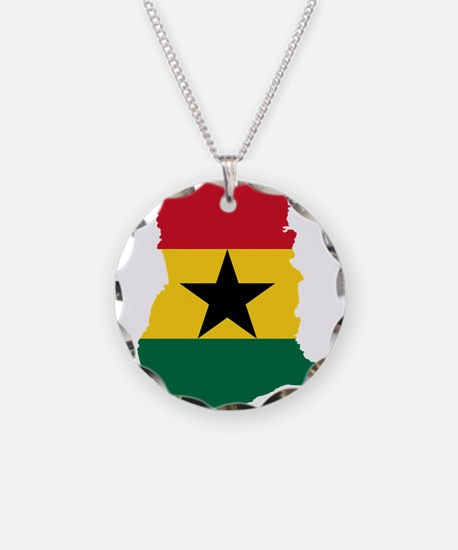 Ghana Flag and Map Necklace Circle Charm