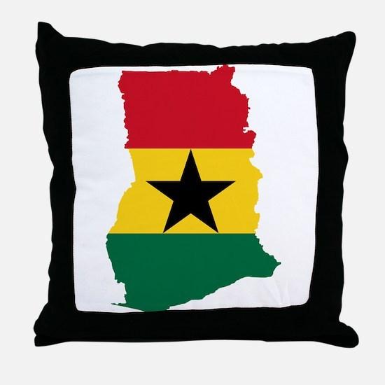 Ghana Flag and Map Throw Pillow