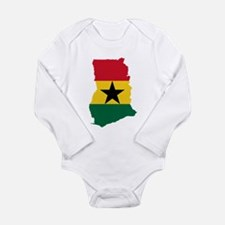 Ghana Flag and Map Long Sleeve Infant Bodysuit