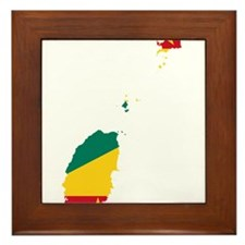 Grenada Flag and Map Framed Tile