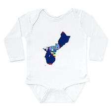 Guam Flag and Map Long Sleeve Infant Bodysuit