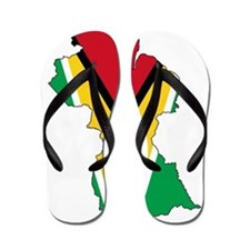 Guyana Flag and Map Flip Flops