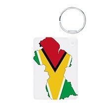 Guyana Flag and Map Aluminum Photo Keychain