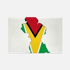 Guyana Flag and Map Rectangle Magnet