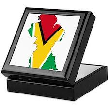 Guyana Flag and Map Keepsake Box