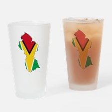 Guyana Flag and Map Drinking Glass
