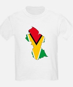 Guyana Flag and Map T-Shirt