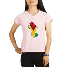 Guyana Flag and Map Performance Dry T-Shirt