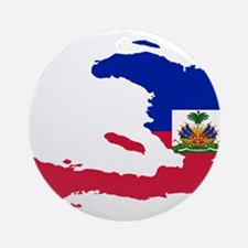 Haiti Flag and Map Ornament (Round)