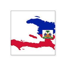 "Haiti Flag and Map Square Sticker 3"" x 3"""