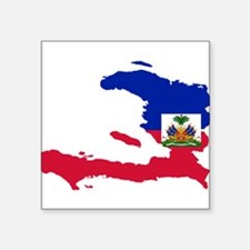 "Haiti Flag and Map Square Sticker 3"" x 3"""