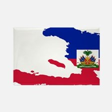 Haiti Flag and Map Rectangle Magnet